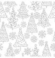 hand drawn snowflakes Christmas tree vector image