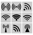 Wireless technology black web icons set vector image