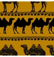 Seamless pattern with camel silhouette vector image