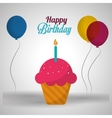 happy birthday card pink cupcake candle and vector image