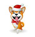 akita inu japanese dog christmas poster with vector image vector image