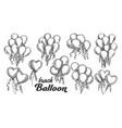 balloons bunch with curly ribbon retro set vector image vector image