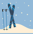 blue skis and ski poles standing in snow vector image vector image