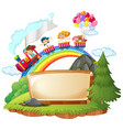border template with happy kids on the train vector image vector image