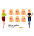 businesswoman making different face expressions vector image vector image