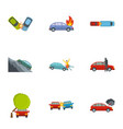 car crash icons set cartoon style vector image vector image