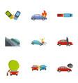 car crash icons set cartoon style vector image