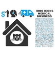 cat house icon with 1000 medical business symbols vector image vector image