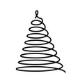 christmas tree thin black wired spiral in a shape vector image vector image