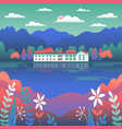 city or village landscape on river in flat vector image vector image