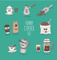 Coffee set coffee bean vector image vector image