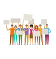 crowd of happy people with posters on the vector image vector image