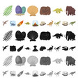 different dinosaurs cartoon icons in set vector image vector image