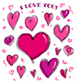 Doodle hearts card vector image vector image