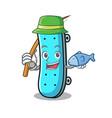 fishing skateboard mascot cartoon style vector image
