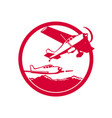 fixed wing aircraft taking off circle retro vector image vector image