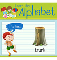 Flashcard letter T is for trunk vector image vector image
