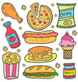 food various element of doodles vector image