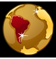 Golden globe with marked of South America vector image vector image