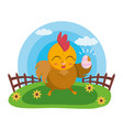 happy easter hen vector image vector image