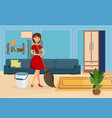 happy housewife cleaning flat vector image vector image