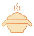 hot porridge flat icon bowl with food orange vector image vector image