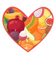 i love fruits heart with vector image