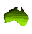 layered paper cut style map australia vector image