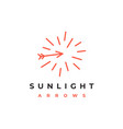 line art sun and arrows logo design vector image