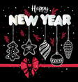 new year s toys hand drawn style on black with red vector image vector image