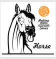 peeking horse - cheerful horse stuck out its vector image vector image