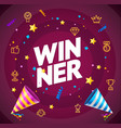 realistic 3d detailed winner concept card poster vector image vector image