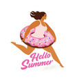running girl with sweet donut inflatable swimming vector image vector image