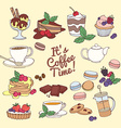 set fresh desserts with coffee tea berry ice vector image vector image