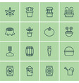 set of 16 garden icons includes radish water vector image vector image