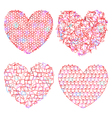 Set of delicate multicolored hearts for decoration vector image vector image