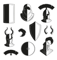set of icons of ancient helmets and vector image vector image