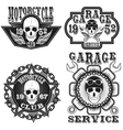 Set of vintage motorcycle labels vector image