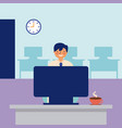 smiling man working office daily activity vector image