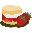Strawberry and cream shortcake vector image