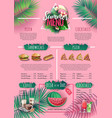 summer menu design with flamingo and tropic leaves vector image vector image