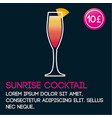 sunrise cocktail card template with price and flat vector image vector image