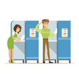 voting booths with man and woman casting their vector image