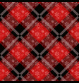 white snowflakes seamless with red tartan pattern vector image