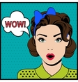 WOW pop art surprised woman vector image vector image