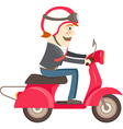 Funny hipster businessman character wearing helmet vector image