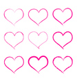 calligraphy brush hearts vector image