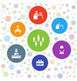 7 employee icons vector image vector image