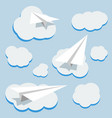 background with paper planes and clouds vector image