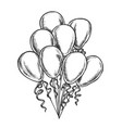 balloons bunch decorated curly ribbon retro vector image vector image